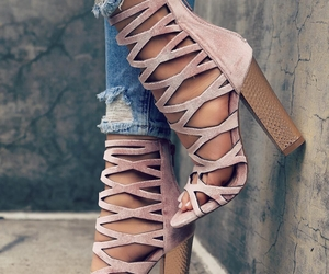 caged, sandals, and suede image