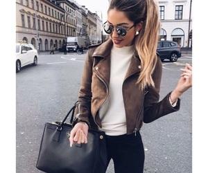 bag, girl, and jacket image