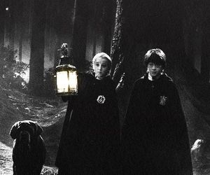 harry potter, draco malfoy, and black and white image