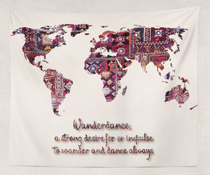 etsy, map wall hanging, and indian fabric image
