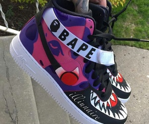 bape, nike, and shoes image