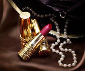 lipstick, pearls, and makeup image