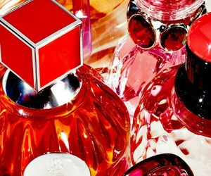 perfume, perfume bottles, and red image