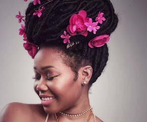 beautiful, black woman, and flowers image