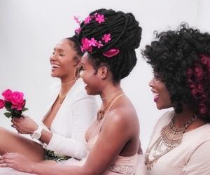 black woman, black women, and flowers image