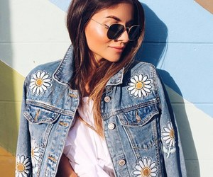 denim jacket, floral, and flowers image