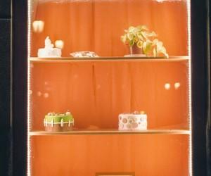 display, store window, and orange image