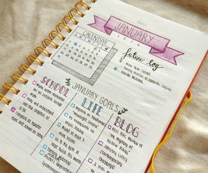study, bullet journal, and planner image