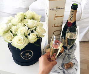 moet, flowers, and champagne image