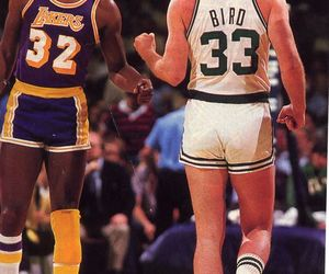 celtics, lakers, and larry bird image