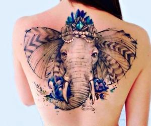 tattoo, elephant, and blue image