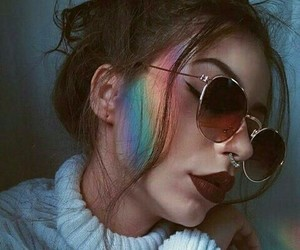 girl, rainbow, and grunge image
