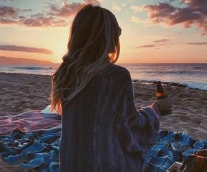 beach, girl, and sunset image