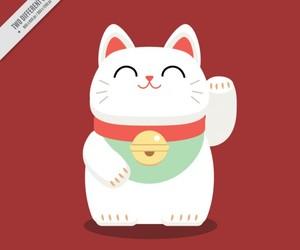 cat, maneki neko, and chat image