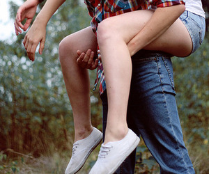 couple, keds, and piggyback image