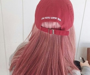 hair, pink, and red image