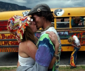 couple, hippies, and kiss image
