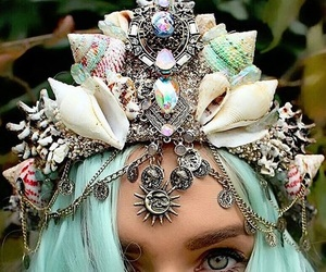 mermaid, crown, and fantasy image