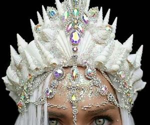 mermaid, crown, and white image