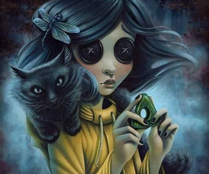 coraline, art, and cat image