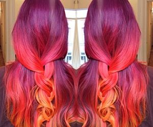 hairstyle, orange, and pink image