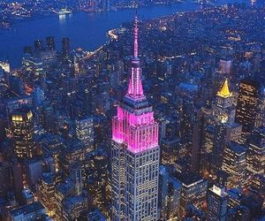 city, empire state building, and lights image
