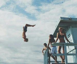 beach, jump, and adventure image