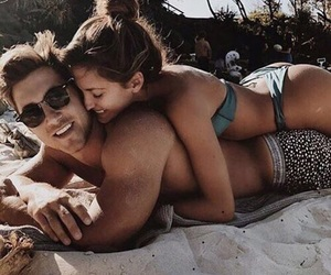 beach, couple, and goal image