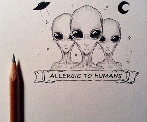 drawing, art, and alien image