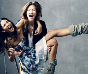 Chanel Iman, fun, and Karlie Kloss image