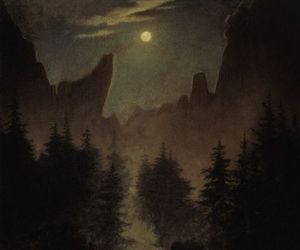 caspar david friedrich, dark, and painting image