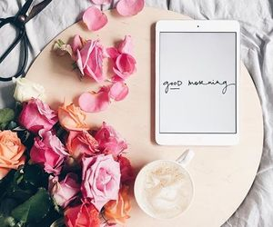 flowers, coffee, and good morning image