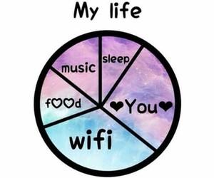 food, sleep, and music image
