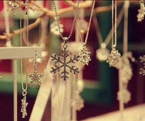 snow, necklace, and snowflake image