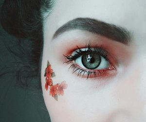eyes, face painting, and flowers image