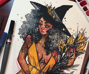 art, witch, and yellow image