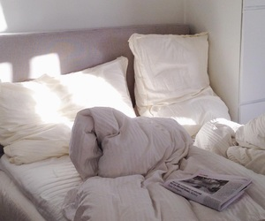 bed, bedsheets, and cozy image