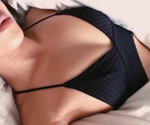 black, black bra, and diamonds image