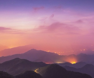 sky, mountains, and sunset image