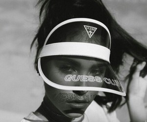 madison beer, black and white, and guess image