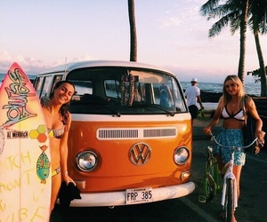 beach, summer, and bus image