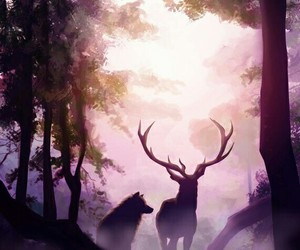 forest, art, and deer image