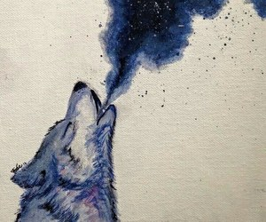 wolf, art, and moon image