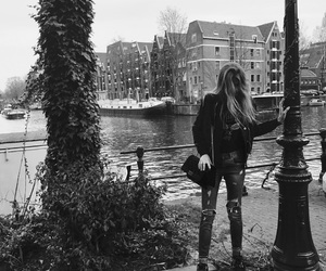 amsterdam, black and white, and girl image