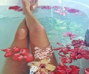 flowers, bath, and legs image