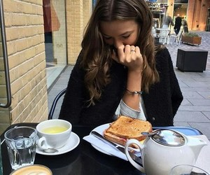 girl, coffee, and food image
