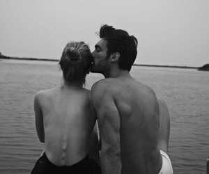 beautiful, kiss, and black and white image