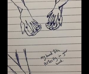 couples, drawing, and hands image