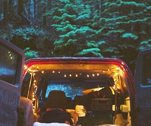 cozy, lights, and woods image