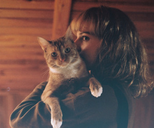 vintage, cat, and girl image